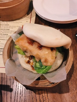 bao bun with fried sweet potato, mushroom, lettuce and sauces