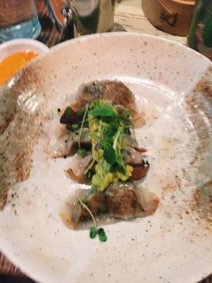 vegetable gyoza and avocado salsa