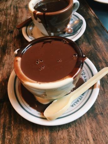 hot chocolate, milk chocolate, white chocolate spoon