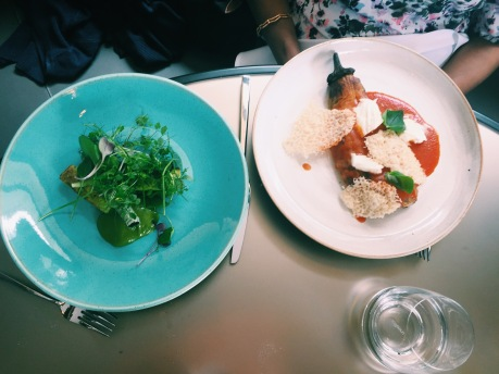 pea souffle and parmagiana
