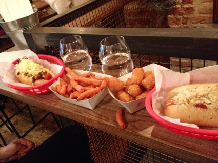 bubble dogs, new yorker, sweet potato fries, potato tots,