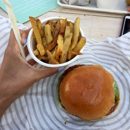 patty and bun vegetarian burger and rosemary chips