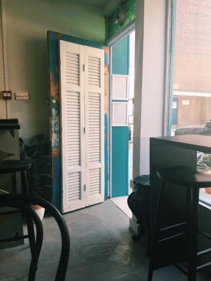 shutter door at front of restaurant