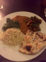 plate of daal, paneer, bhindi, naan, rice