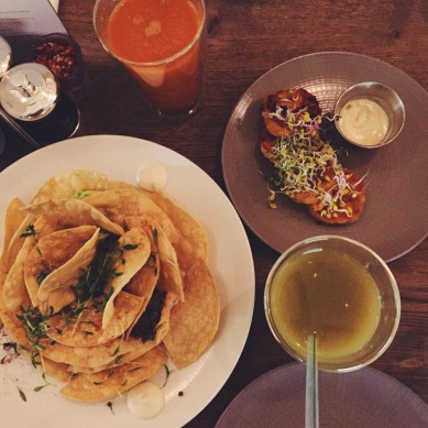 nachos, sweet potato falafels, juice