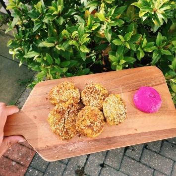 falafel and beetroot dip