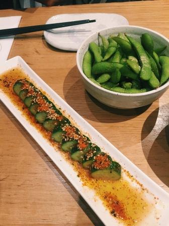 Cucumber and edamame